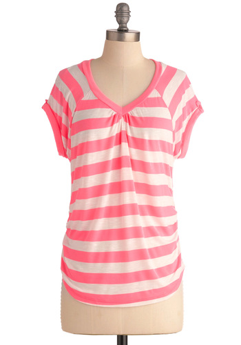 Let's Have a Ballgame Top - Pink, White, Stripes, Casual, Short Sleeves, Summer, Mid-length