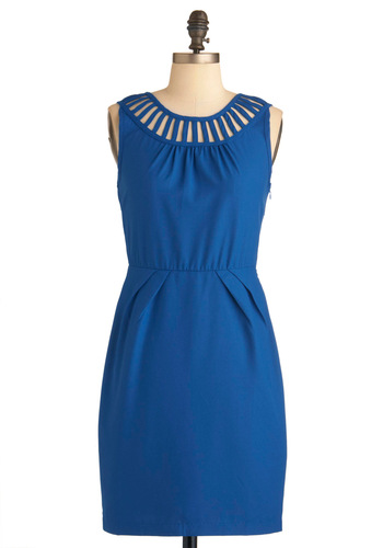 Self Azure-d Dress - Mid-length, Blue, Solid, Cutout, Pleats, Party, Shift, Sleeveless