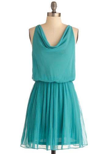 Where the Breeze Begins Dress - Mid-length, Green, Solid, Pleats, Party, Tan / Cream, Lace, Racerback