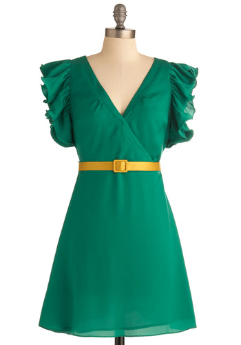 Fall in Luck Dress - Short, Green, Solid, Ruffles, Party, A-line, Yellow, Short Sleeves