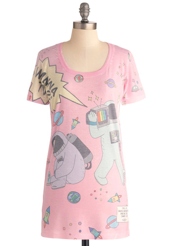 Unearthly Astronaut Tee - Long, Pink, Multi, Short Sleeves, Casual, Multi, Vintage Inspired, 80s, Pastel, Summer, Travel