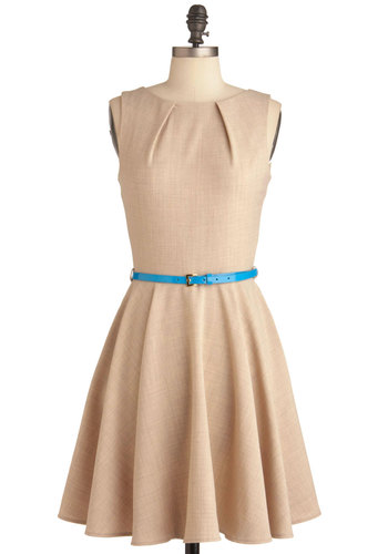 Luck Be a Lady Dress in Khaki - Tan, Solid, Pockets, Sleeveless, Exposed zipper, Work, Mid-length, Fit & Flare