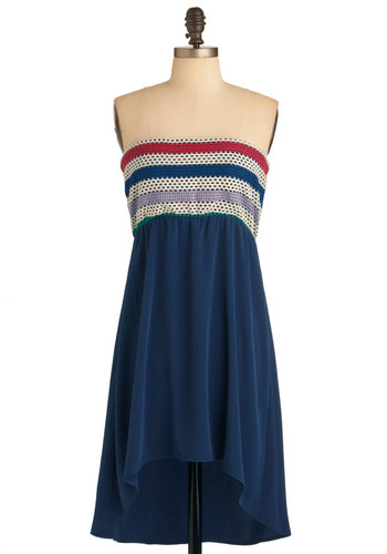 Impromptu Picnic Dress - Short, Blue, Purple, Tan / Cream, Stripes, Crochet, Casual, Empire, Strapless, Multi, Red, Summer