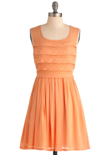 Cantaloupe Be Without You Dress - Mid-length, Orange, Solid, Pockets, Party, A-line, Tank top (2 thick straps), Trim