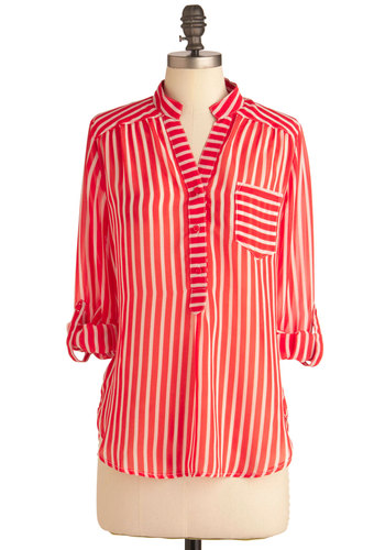 Life of the Parfait Top - Red, White, Stripes, Pockets, Casual, Long Sleeve, Buttons, Nautical, Mid-length, Sheer, Button Down
