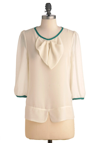 Cream in My Tea Top - Mid-length, Cream, Green, Solid, Bows, Work, 3/4 Sleeve, Buttons