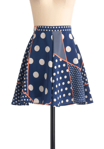 Endless Options Skirt - Short, Blue, Orange, White, Polka Dots, Casual, A-line