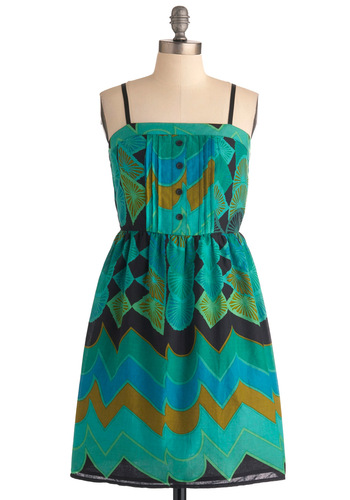 A Matter of Abstract Dress - Mid-length, Green, Blue, Print, Buttons, Casual, Spaghetti Straps, Multi, Yellow, Shift, Summer, Cotton