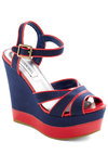 Docks in a Row Wedge - Blue, Nautical, Red, Wedge, Spring, Platform, Peep Toe, High