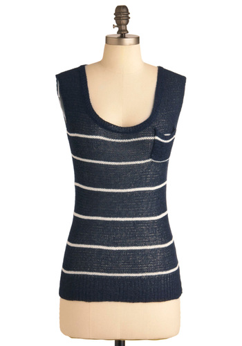 Take It Breezy Top - Mid-length, Blue, White, Stripes, Pockets, Casual, Nautical, Sleeveless, Knitted