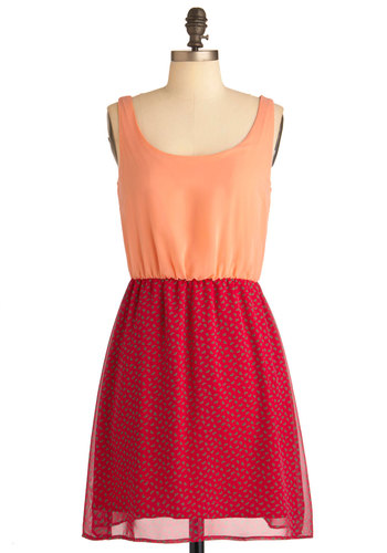 Its All Clover Dress - Mid-length, Red, Orange, Casual, Tank top (2 thick straps), Twofer, Sheer