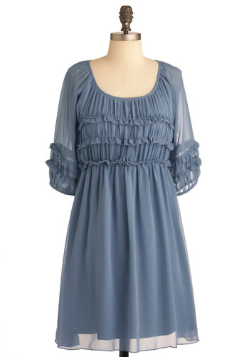 From Your Balcony Dress - Mid-length, Blue, Solid, Ruffles, Empire, 3/4 Sleeve, Casual, Sheer