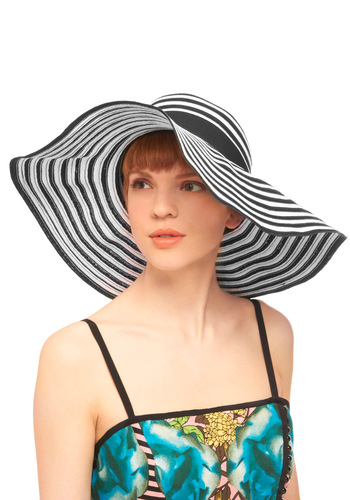 Just for Sun Hat - Stripes, Woven, White, Casual, Nautical, Black, Summer, Travel