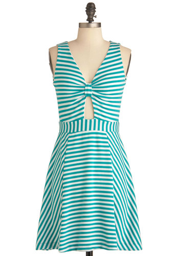 Spearmint for You Dress - Short, Blue, White, Stripes, Cutout, Casual, Nautical, Shift, Sleeveless, Summer, Beach/Resort, Variation
