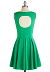 Verdant on the Veranda Dress - Green, Solid, Cutout, Party, A-line, Sleeveless, Mid-length