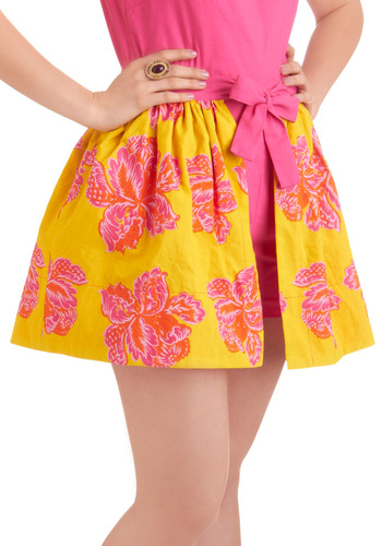 House of Hues Layering Skirt - Short, Orange, Pink, Floral, Yellow, Statement