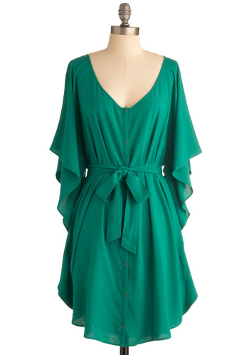 You and Me Forever Dress in Green by Jack by BB Dakota - Green, Solid, Buttons, Sheath / Shift, Ruffles, Casual, 3/4 Sleeve, Mid-length, Exclusives, Belted, Boho, 70s, 80s, Holiday Sale, Button Down, V Neck, Variation, Beach/Resort
