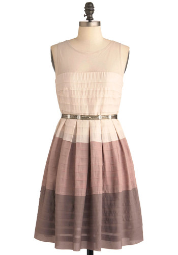 On and Ombre Dress by Ryu - Mid-length, Tan, Brown, Tan / Cream, Party, A-line, Sleeveless