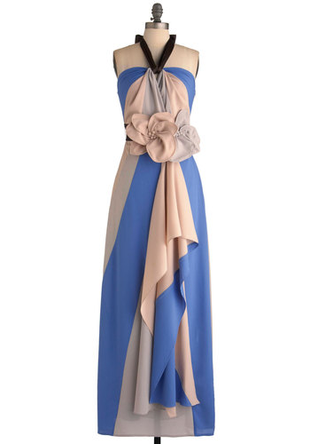 Swirling Soiree Dress by Ryu - Long, Flower, Party, Maxi, Halter, Belted, Blue, Pink, Tan / Cream, Prom