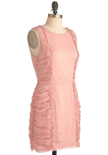 Elegance Is a Cinch Dress - Short, Pink, Solid, Exposed zipper, Party, Sheath / Shift, Sleeveless, Mini
