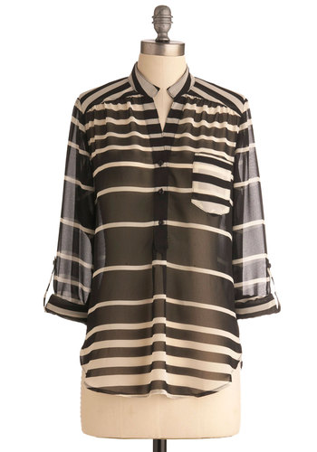 Smart Stripes Top - White, Stripes, Pockets, Casual, Long Sleeve, Black, Buttons, Mid-length, Sheer, Button Down, V Neck