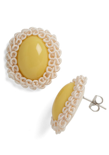 Swift Thrifter Earrings - Yellow, White, Solid, Trim, Work, Vintage Inspired