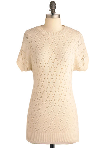 Day-cream Top - Cream, Knitted, Casual, Short Sleeves, Solid, Long