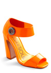 Girl of My Dreams Heel in Neon Orange - Orange, Buttons, 80s, Solid, Party, Vintage Inspired, Summer, Girls Night Out, Peep Toe, High, Chunky heel