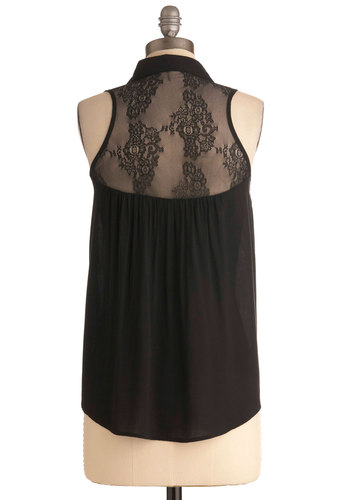 Seek the Shade Top - Short, Black, Lace, Sleeveless, Sheer