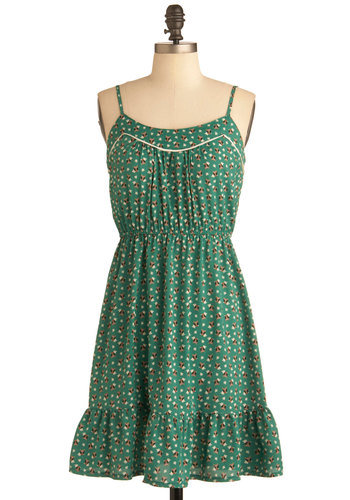 You Look Hoot Dress - Mid-length, Green, Multi, Novelty Print, Ruffles, Casual, Owls, Spaghetti Straps