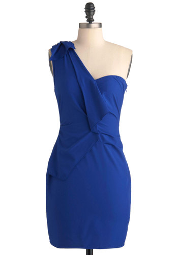 Swift and Azure Dress - Short, Blue, Solid, Bows, Party, Sheath / Shift, One Shoulder