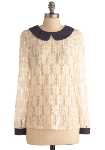 Take It From Tea Top - Mid-length, Cream, Blue, Lace, Peter Pan Collar, Work, Long Sleeve