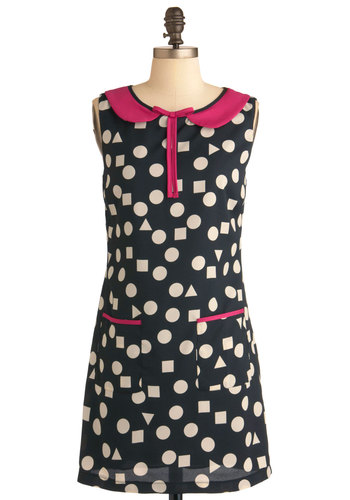 Polygon Prep Dress - Short, Pink, Black, White, Bows, Peter Pan Collar, Pockets, Party, Vintage Inspired, 60s, Sheath / Shift, Sleeveless, Polka Dots, Scholastic/Collegiate, Collared, Mod