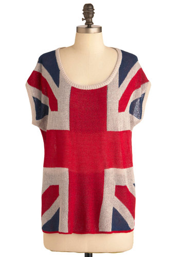 Jet Flag Top - Tan / Cream, Novelty Print, Casual, Short Sleeves, Red, Blue, Mid-length
