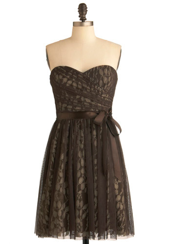 Chocolate It Happen Dress by Max and Cleo - Party, A-line, Strapless, Brown, Tan / Cream, Prom, Mid-length