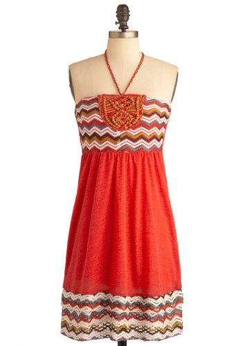 Craft Wing Dress - Mid-length, Orange, Casual, Empire, Halter, Crochet, Summer, Multi, Beach/Resort