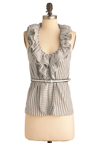 Co-Optical Illusion Top - Mid-length, Black, Polka Dots, Stripes, Ruffles, Casual, Halter, Grey, Belted, Cotton