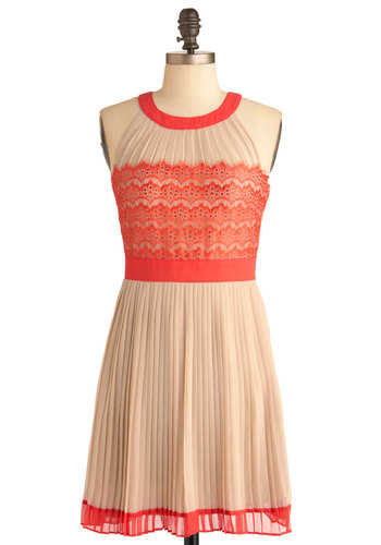 Check, Pleats Dress - Short, Orange, Tan / Cream, Lace, Pleats, Party, Halter