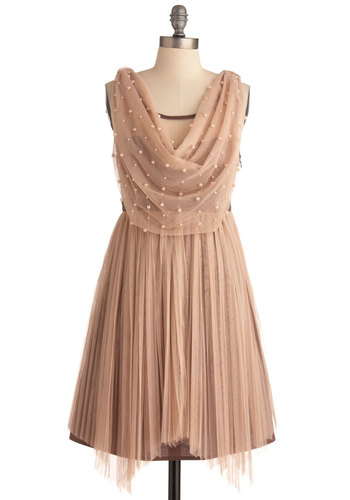 Galaxy of Glamour Dress by Ryu - Mid-length, Solid, Pearls, Pleats, A-line, Sleeveless, Cocktail, Holiday Party, Sheer, Cowl, Tan, Wedding