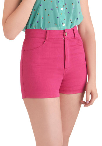 Pink Out Loud Shorts by Motel - Pink, Solid, Pockets, Casual, Summer, Short