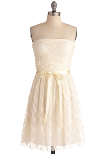 Coconut Cream Pie Dress - Cream, Solid, Lace, Wedding, Party, Sheath / Shift, Strapless, Mid-length