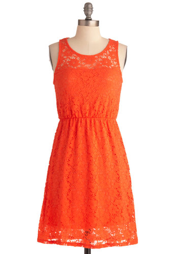 Hug and a Squeeze Dress - Mid-length, Orange, Solid, Lace, Casual, Sheath / Shift, Tank top (2 thick straps), Summer
