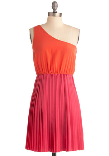 Love Me Trender Dress - Mid-length, Orange, Pink, Pleats, Party, Sheath / Shift, One Shoulder, Summer
