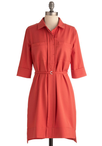 Prepping for Guests Dress - Mid-length, Orange, Solid, Pockets, Shirt Dress, 3/4 Sleeve, Belted, Button Down, Collared, Coral, Work