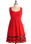 Small Plates Soiree Dress - Mid-length, Red, Black, Solid, Cutout, Pleats, Party, Empire, Tank top (2 thick straps), Scallops, Holiday