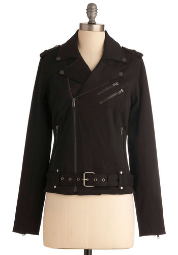 I Bike It a Lot Jacket - Black, Solid, Buckles, Epaulets, Exposed zipper, Urban, Long Sleeve, 2, Short, Steampunk, Cotton