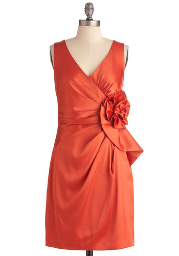 Rosette Your Sights Dress - Mid-length, Orange, Solid, Flower, Pleats, Special Occasion, Wedding, Shift, Sleeveless, Cocktail, Satin, V Neck
