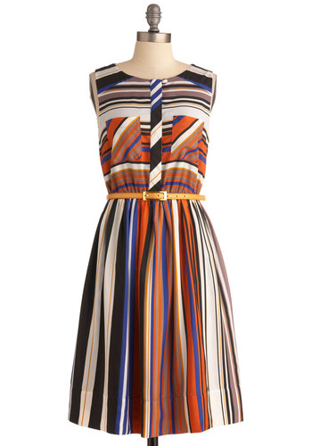 A Fashion Rust Dress - Long, Multi, Multi, Stripes, Pockets, Work, Shift, Sleeveless, Belted, Fit & Flare