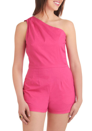 House of Hues Romper - Pink, Solid, Pockets, Casual, One Shoulder, Summer, Long