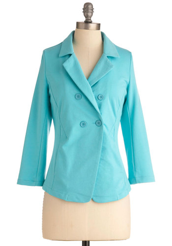 Where, When, Sky Blazer - Mid-length, Blue, Solid, Buttons, Pockets, Work, Long Sleeve, Spring, 1